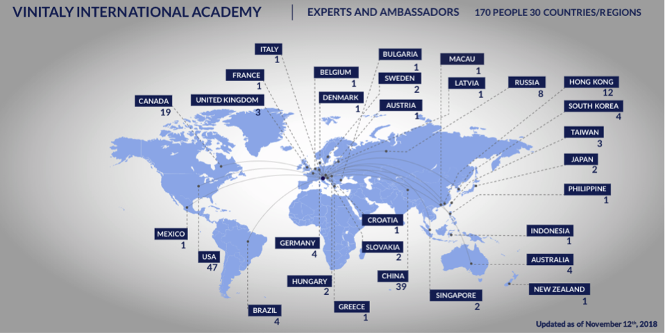 Map of the Vinitaly International Academy community worldwide